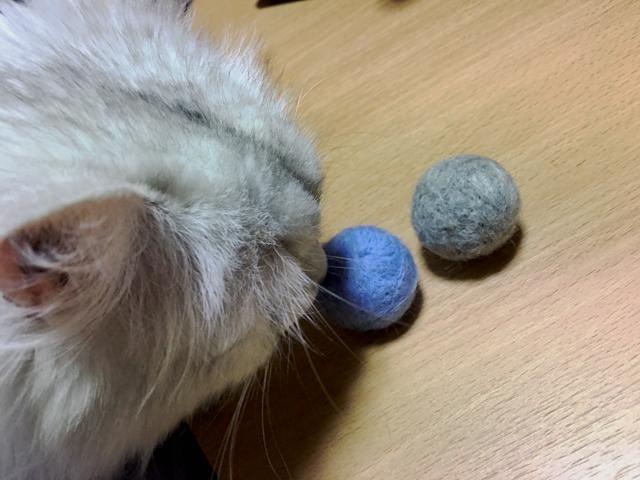 """ペルシャのために羊毛フェルトで""""猫玉""""を自作してみた!"""